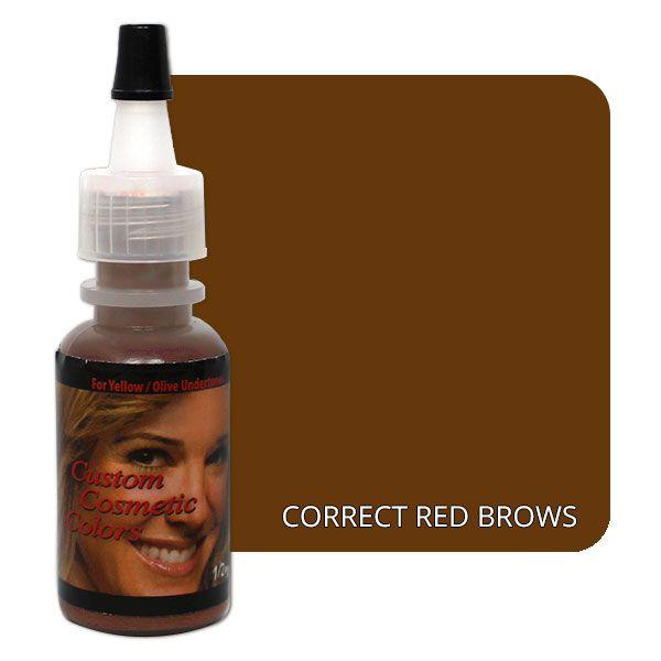 brązowy barwnik dokorekcji czerwonych brwi wbutelce z głową kobiety