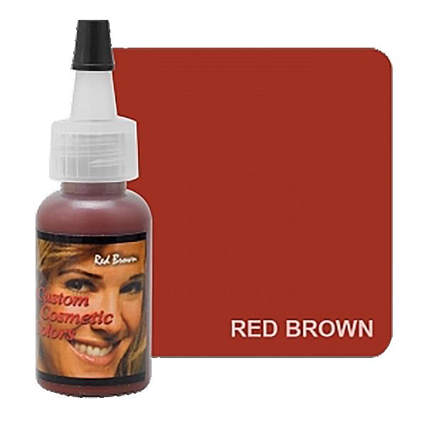mahoniowy, rudy barwnik doust ibrwi, pigment dla rudowłosych wbutelecznce z głową kobiety