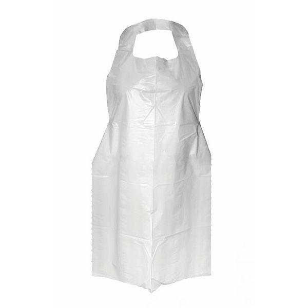 cienki biały fartuch foliowy wiązany naszyi iz tyłu, zabezpieczajacy