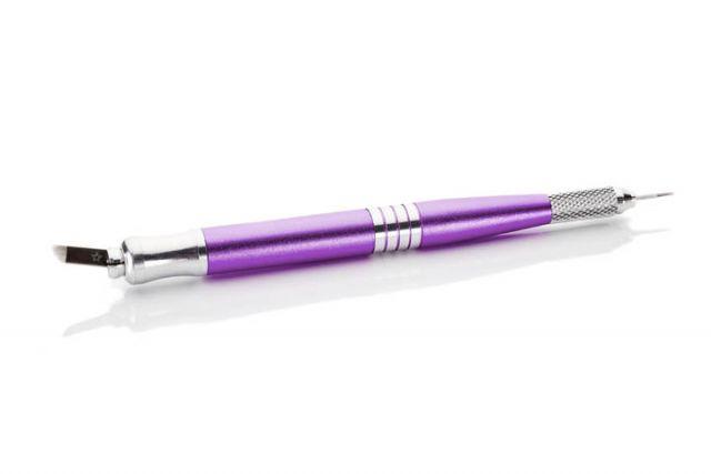 podwójny, fioletowy pen dometody piórkowej, dwustronny, gruby, nadwa rodzaje igieł