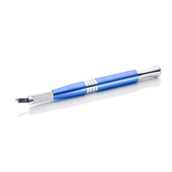 niebieski pen domicrobladingu z igła, metalowy, łady kolor