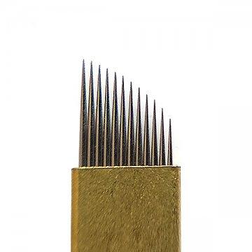 Złoty nożyk domakijażu permanentnego BRASS 12F, Ostrze dometody manualnej