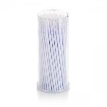 białe małe patyczki z aplikatorem wplastikowym opakowanie okrągłe