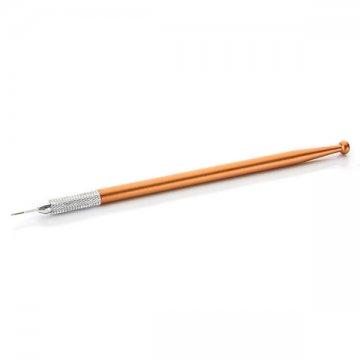 cienki, pomarańczowy pen dometody piórkowej z igłą nazdjęciu, dobra cena