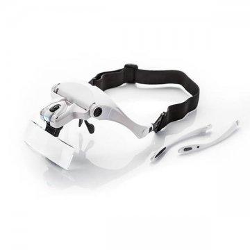 okulary z latarką led iwymiennymi szkłami, białe z gumką