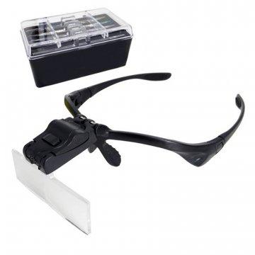 okulary z lampą led iwymiennymi szkłami czarne