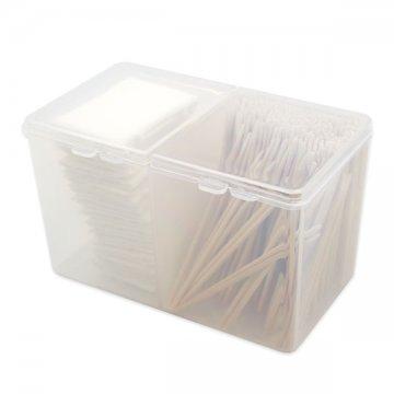 plastikowe przeźroczyste pudełko nadrewniane patyczki domakijażu permanentnego