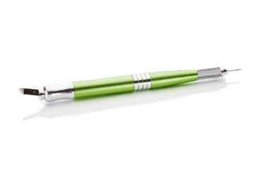 piękne zielone, dwustronne piórko domicrobladingu imicroshadingu, dwustronne z igłą