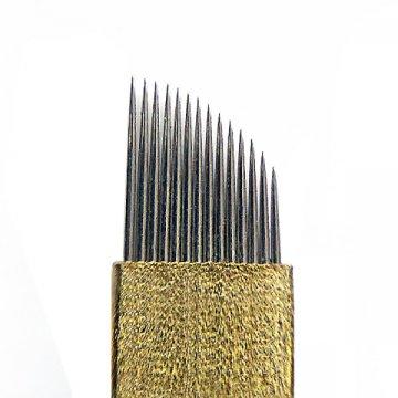 złote ostrze BLACK BRASS 14F domicroblading, japońska stal, bardzo ostra igła
