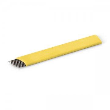 płaskie ostrze domicroblading, żółte, flat z 12 igłami podkątem
